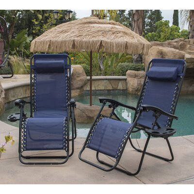 Zero Gravity Chaise Lounge with Cushion Finish: Blue