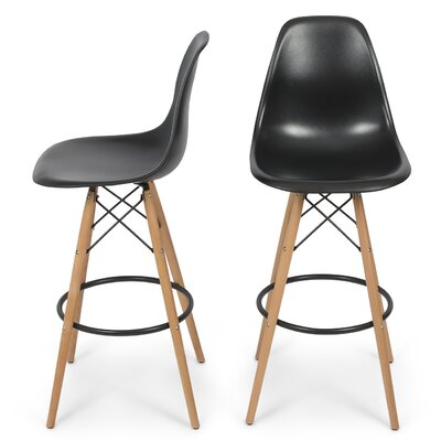 31.25 Bar Stool Color: Black