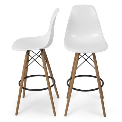 31.25 inch Bar Stool Color: White