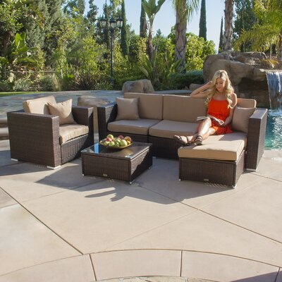 6 Piece Deep Seating Group with Cushion Color: Brown