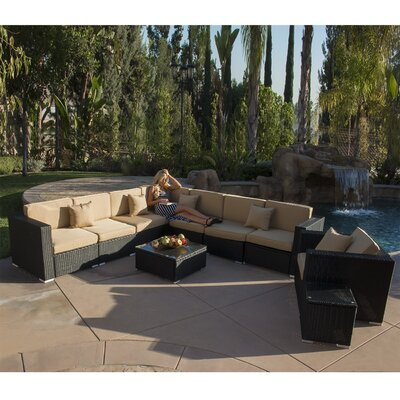 10 Piece Sectional Set With Cushions Color: Black