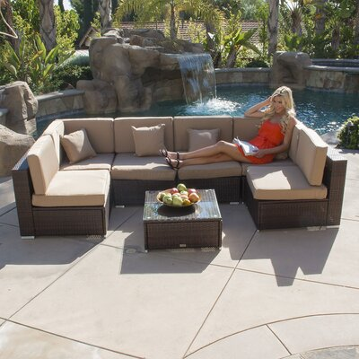 7 Piece Deep Seating Group with Cushion Color: Brown