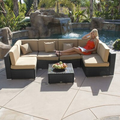 7 Piece Deep Seating Group with Cushion Color: Black