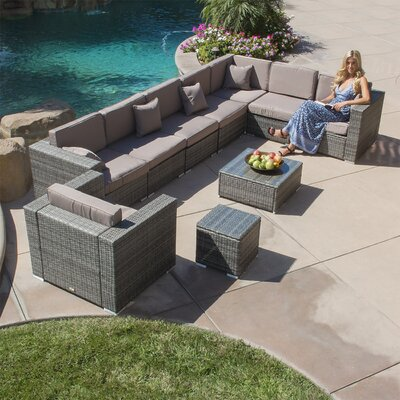 10 Piece Sectional Set With Cushions Color: Gray