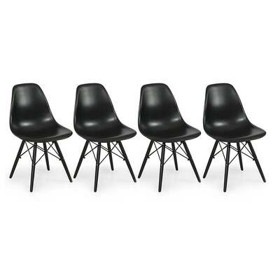 Molded Plastic Side Chair Color: Black