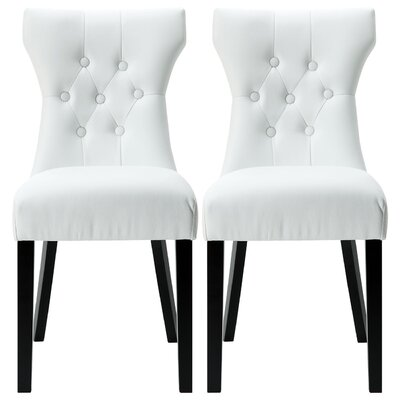 Elegant Tufted Design Faux Leather Upholstered Parsons Chair Upholstery: White