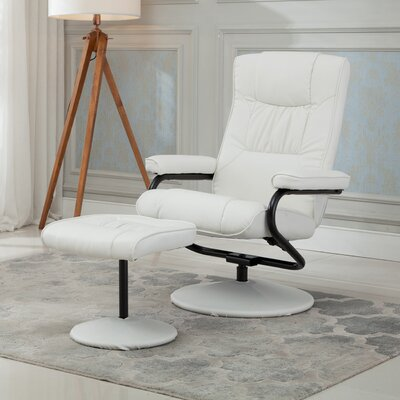 Manual Swivel Recliner with Ottoman Upholstery: White