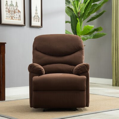 Microfiber Manual Recliner Upholstery: Brown