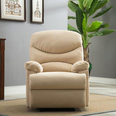 Microfiber Manual Recliner Upholstery: Beige