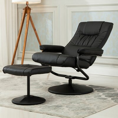 Manual Swivel Recliner with Ottoman Upholstery: Black