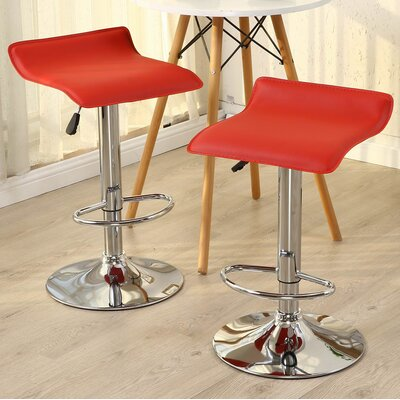 Castille Adjustable Height Swivel Bar Stool Upholstery: Red