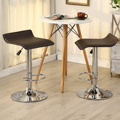 Castille Adjustable Height Swivel Bar Stool Upholstery: Dark Brown