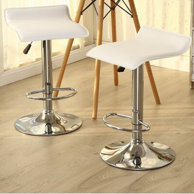 Castille Adjustable Height Swivel Bar Stool Upholstery: White