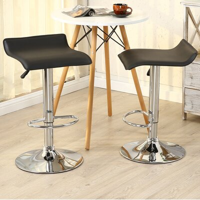 Castille Adjustable Height Swivel Bar Stool Upholstery: Black