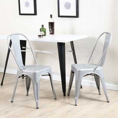 Derrall Modern Vintage Stackable Chic Bistro Cafe Dining Chair Color: Silver