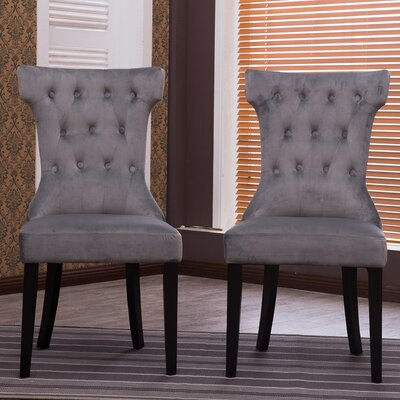 Premium Nailhead Parson Chair Color: Gray