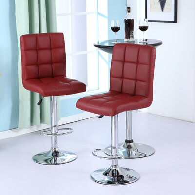 Cassini Adjustable Height Swivel Bar Stool Upholstery: Merlot Red