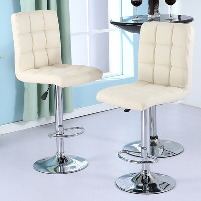 Adjustable Height Swivel Bar Stool Upholstery: Cream Soda