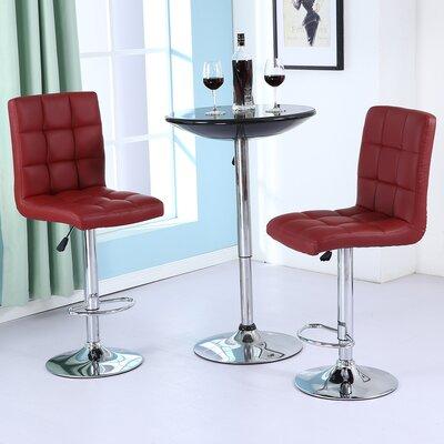 Adjustable Height Swivel Bar Stool Upholstery: Merlot Red