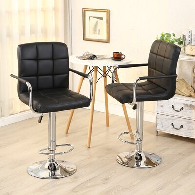 Modern Adjustable Height Swivel Bar Stool Upholstery: Black
