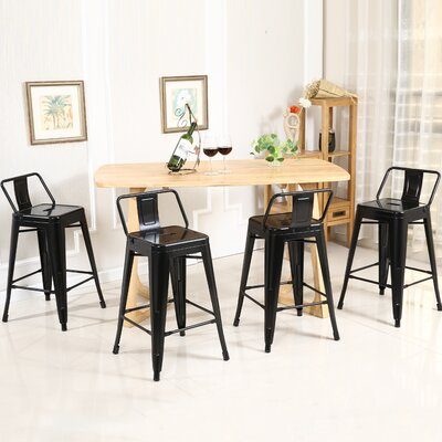 24 Bar Stools Color: Black