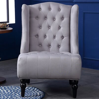 Tufted Wingback Chair Upholstery: Gray