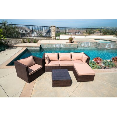 Wicker Rattan 6 Piece Sectional Seating Group with Cushion Fabric: Brown/Beige