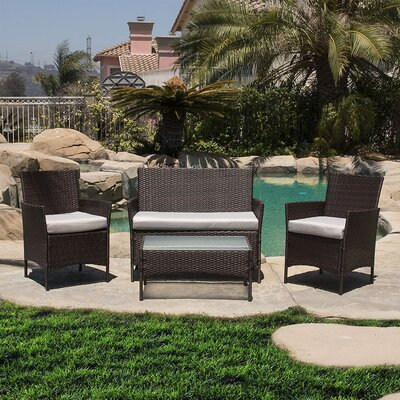 4 Piece Deep Seating Group with Cushion Finish: Brown