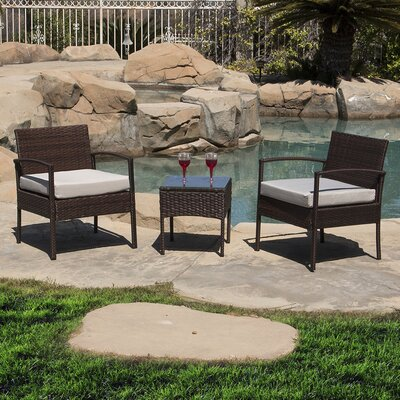 Belleze 3 Piece Conversation Set With Cushions