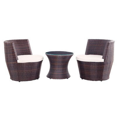 Helvey Patio Wicker 3 Piece Lounge Seating Group with Cushion