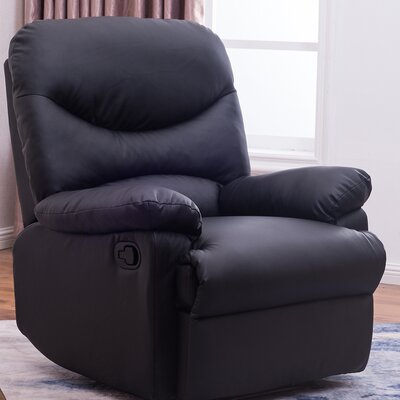Amparo Lounge Padded Armrest Manual Recliner Color: Black
