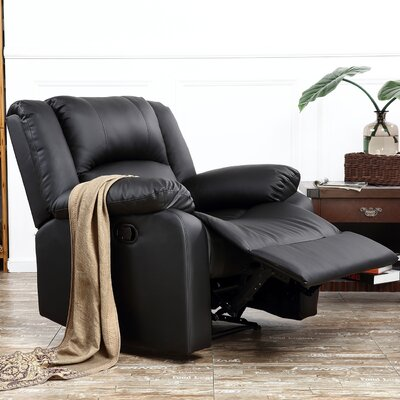 Dorine Overstuffed Armrest and Back Recliner Upholstery : Black