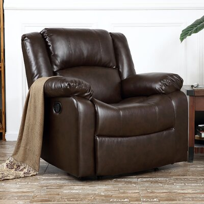 Dorine Overstuffed Armrest and Back Recliner Upholstery : Brown