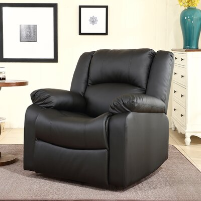 Dorene Manual Swivel Glider Recliner Upholstery : Black