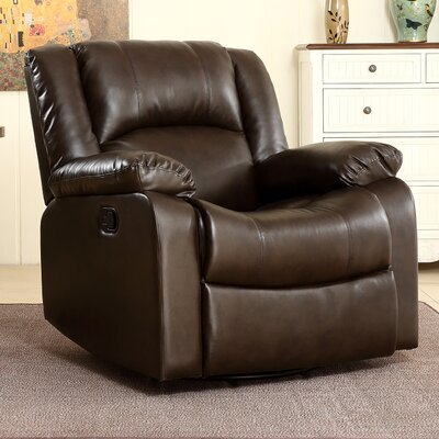 Dorene Manual Swivel Glider Recliner Upholstery : Brown