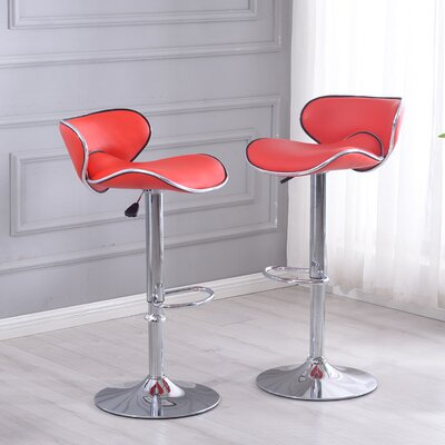 Morley Adjustable Height Swivel Stainless Steel Bar Stool Upholstery: Red