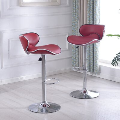 Morley Adjustable Height Swivel Stainless Steel Bar Stool Upholstery: Burgundy