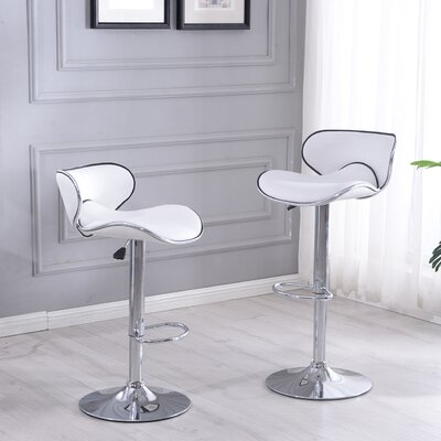 Morley Adjustable Height Swivel Stainless Steel Bar Stool Upholstery: White