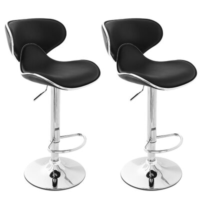 Morley Adjustable Height Swivel Stainless Steel Bar Stool Upholstery: Black