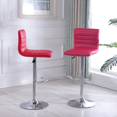 Morley Adjustable Height Swivel Bar Stool Upholstery: Red
