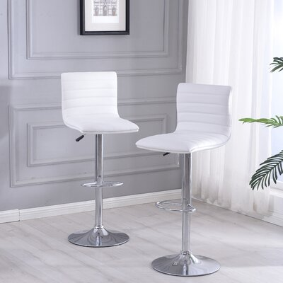 Morley Adjustable Height Swivel Bar Stool Upholstery: White