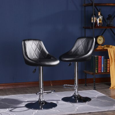 Morley Modern Adjustable Height Swivel Bar Stool Upholstery: Black