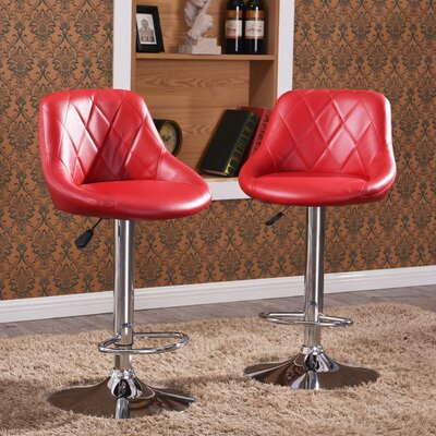 Morley Modern Adjustable Height Swivel Bar Stool Upholstery: Burgundy