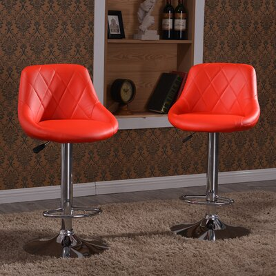 Morley Modern Adjustable Height Swivel Bar Stool Upholstery: Red