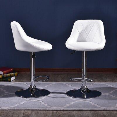 Morley Modern Adjustable Height Swivel Bar Stool Upholstery: White