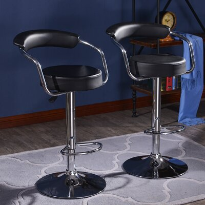 Morley Adjustable Height Swivel Low Back Bar Stool Upholstery: Black