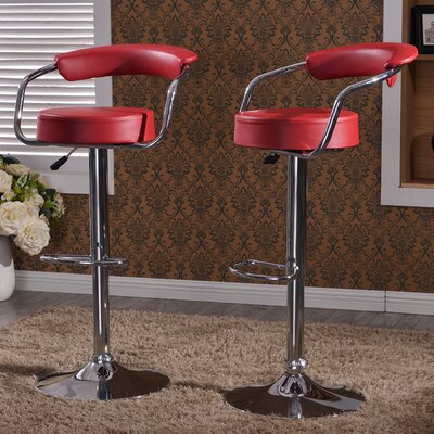 Morley Adjustable Height Swivel Low Back Bar Stool Upholstery: Burgundy
