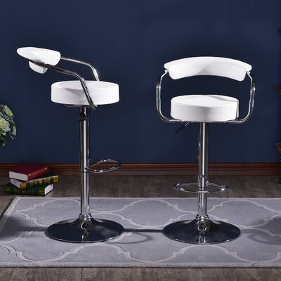 Morley Adjustable Height Swivel Low Back Bar Stool Upholstery: White