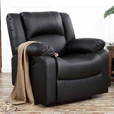 Dorine Overstuffed Armrest and Back Recliner Upholstery : Black