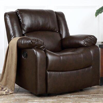 Dorine Overstuffed Armrest and Back Recliner Upholstery : Brown